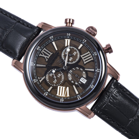 Thomas Earnshaw THOMAS EARNSHAW SWISS MADE Longcase 43 Quartz Chronograph Watch With Black Genuine Leather Strap ES-0016-08