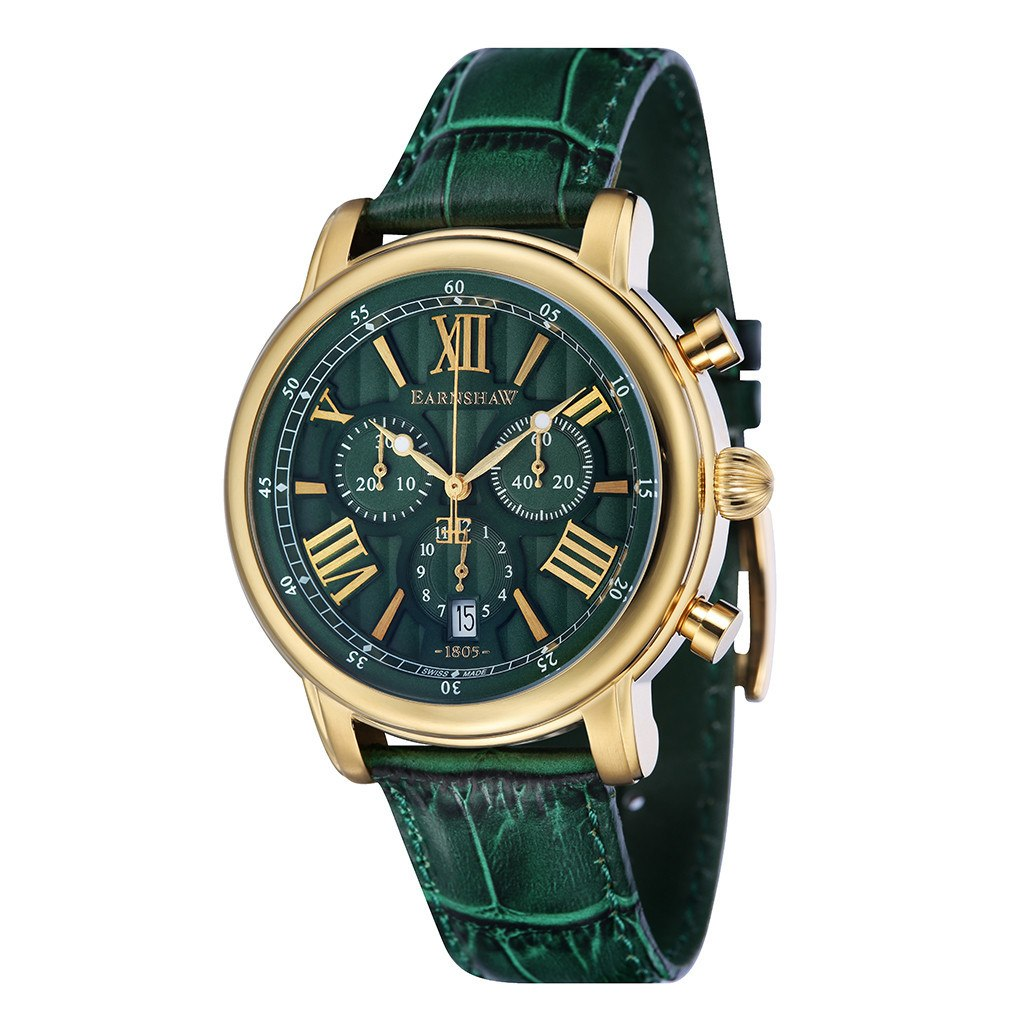 Thomas Earnshaw THOMAS EARNSHAW SWISS MADE Longcase 43 Quartz Chronograph Watch With Green Genuine Leather Strap ES-0016-09