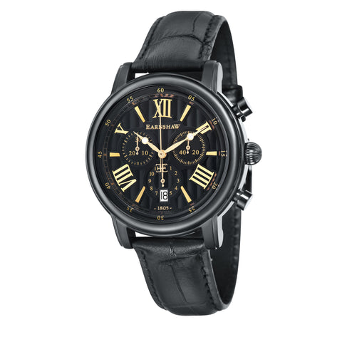 Thomas Earnshaw THOMAS EARNSHAW SWISS MADE Longcase 43 Quartz Chronograph Watch With Black Genuine Leather Strap ES-0016-0B
