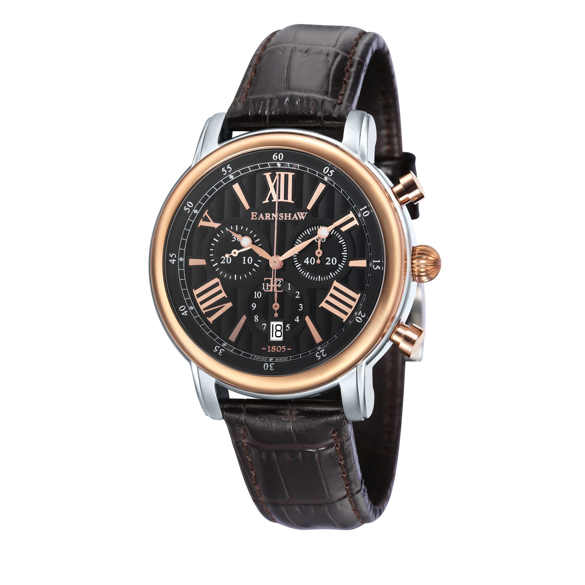Thomas Earnshaw THOMAS EARNSHAW SWISS MADE Longcase 43 Quartz Chronograph Watch With Dark Brown Genuine Leather Strap ES-0016-0C
