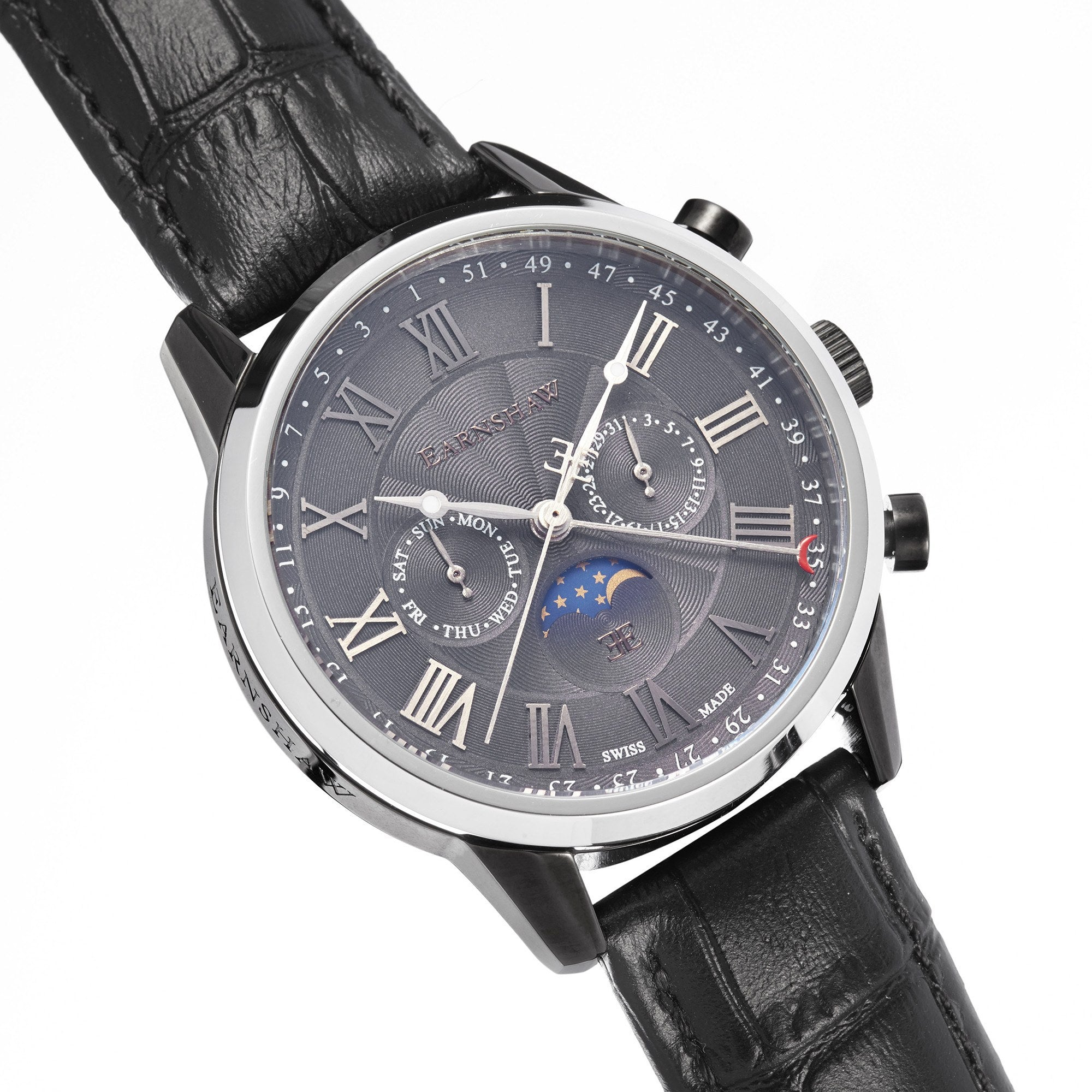 Thomas Earnshaw THOMAS EARNSHAW SWISS MADE Officer Quartz Watch With Black Genuine Leather Strap ES-0017-03