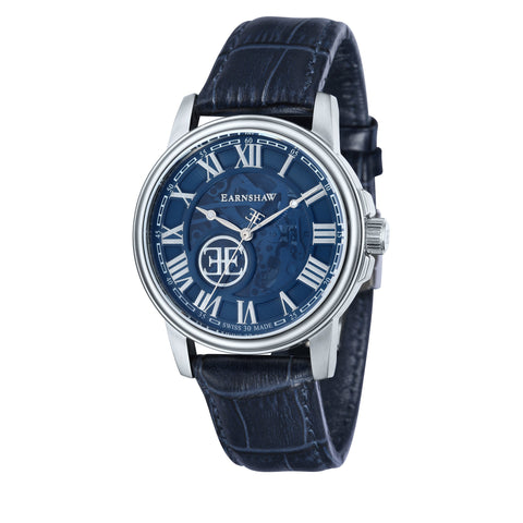 Thomas Earnshaw THOMAS EARNSHAW SWISS MADE Beagle Automatic Skeleton Watch With Blue Genuine Leather Strap ES-0028-06