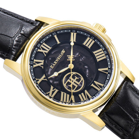 Thomas Earnshaw THOMAS EARNSHAW SWISS MADE Beagle Automatic Skeleton Watch With Black Genuine Leather Strap ES-0028-07