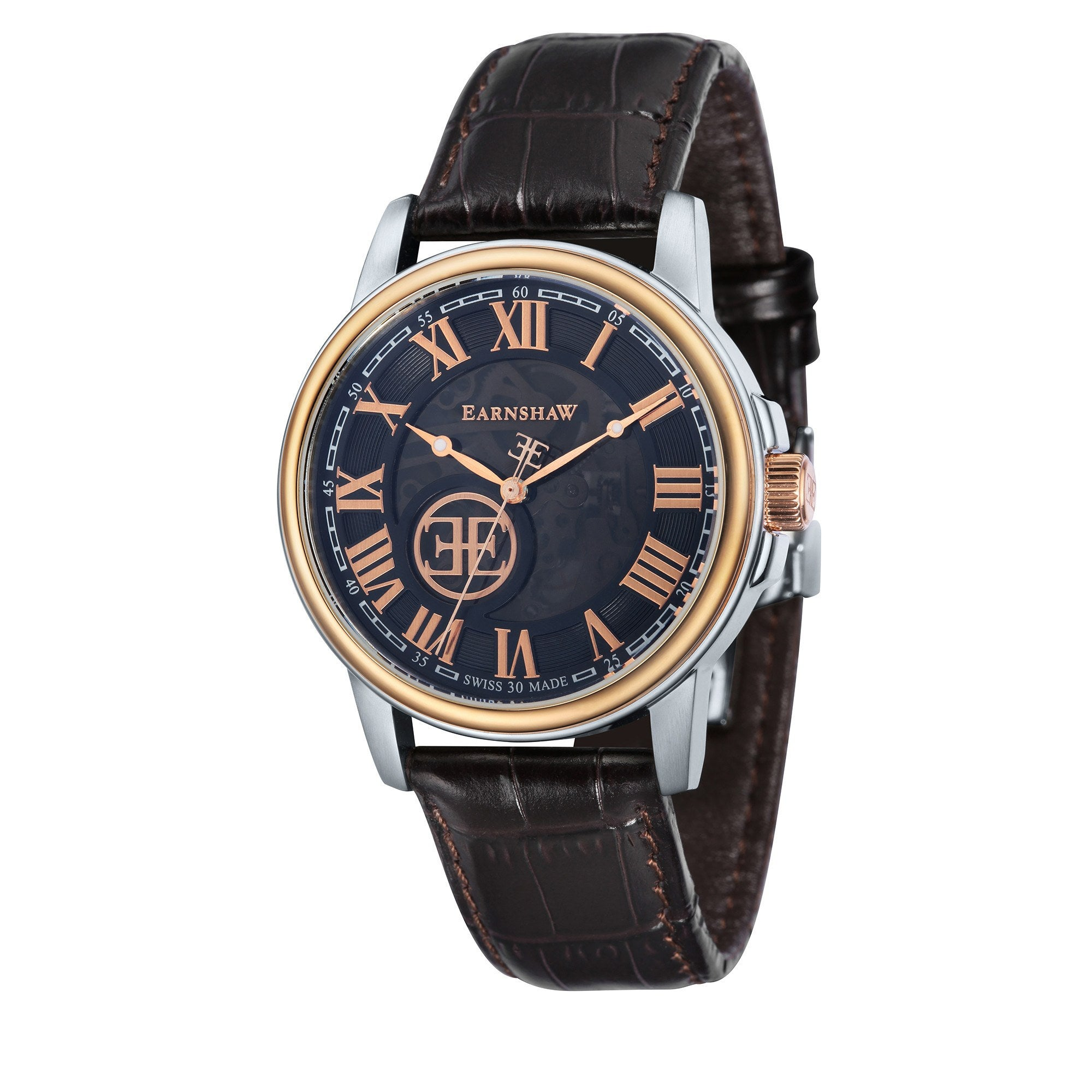 Thomas Earnshaw THOMAS EARNSHAW SWISS MADE Beagle Automatic Skeleton Watch With Dark Brown Genuine Leather Strap ES-0028-08