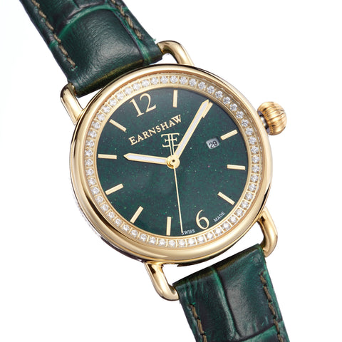 Thomas Earnshaw THOMAS EARNSHAW SWISS MADE Investigator Quartz Watch With Green Genuine Leather Strap ES-0030-03