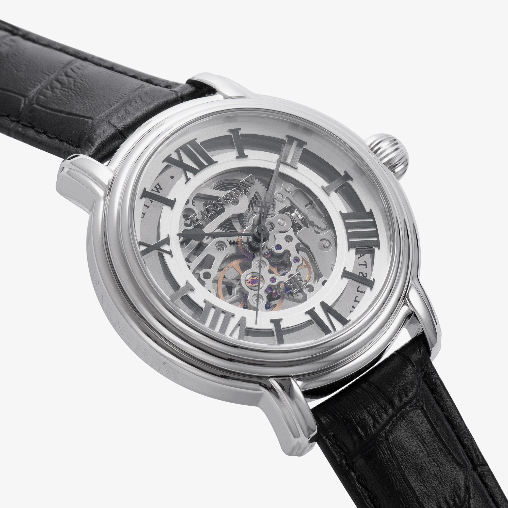 Thomas Earnshaw THOMAS EARNSHAW SWISS MADE Longcase Automatic Skeleton Watch With Black Genuine Leather Strap ES-0032-01