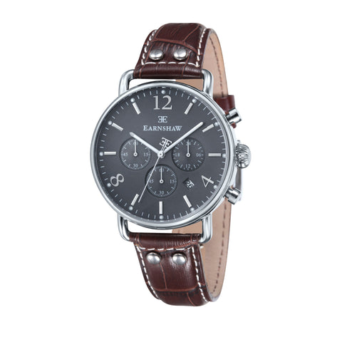 Thomas Earnshaw Men's ES-8001-04 Investigator Stainless Steel Watch with Brown Genuine Leather Strap
