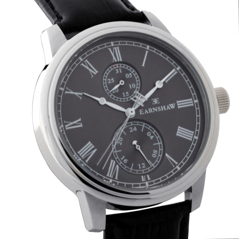 Thomas Earnshaw Men's ES-8002-01 Cornwall Stainless Steel Watch with Black Genuine Leather Strap