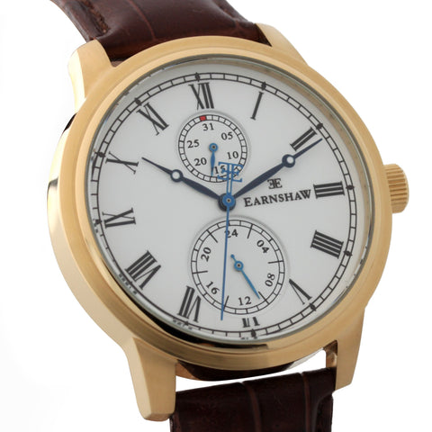 Thomas Earnshaw Men's ES-8002-02 Cornwall Gold Watch with Brown Genuine Leather Strap