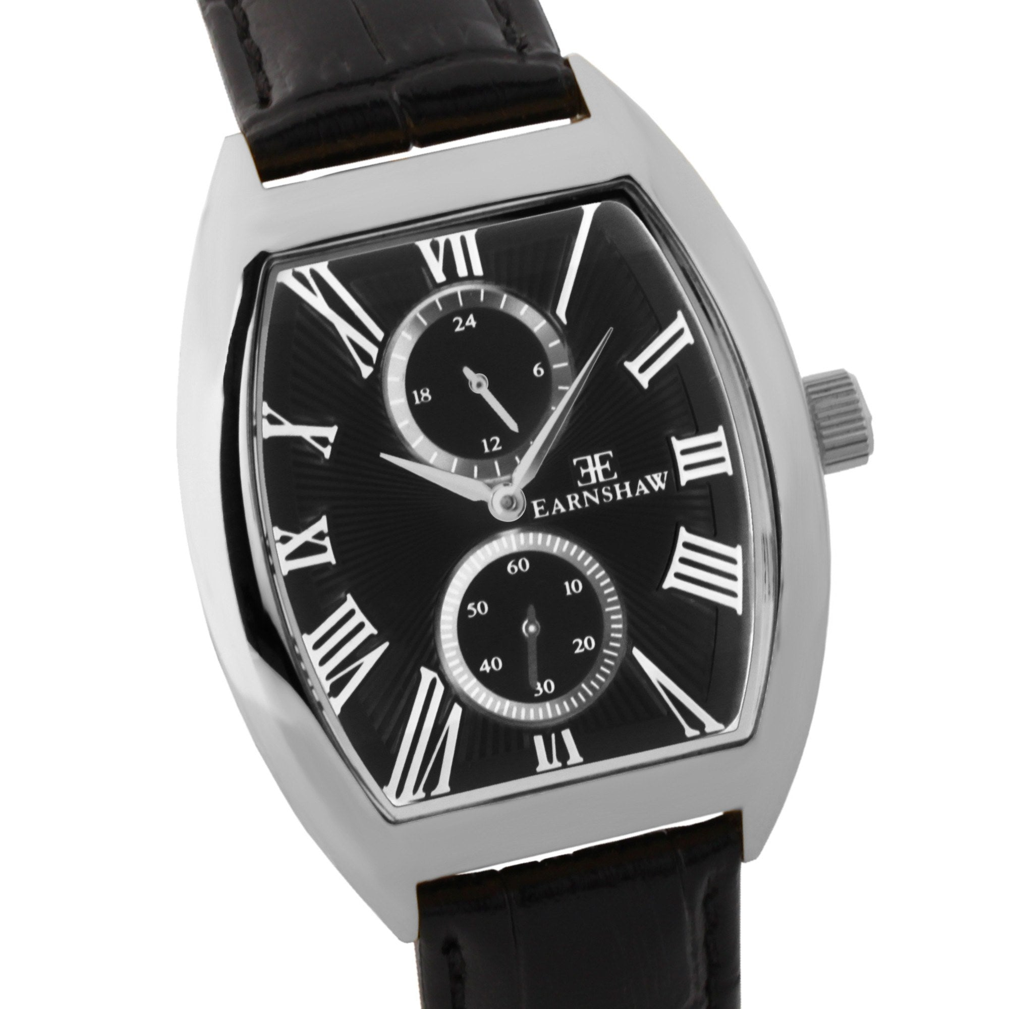 Thomas Earnshaw Men's ES-8004-01 Holborn Stainless Steel Watch with Black Leather Strap