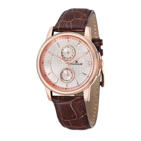 Thomas Earnshaw Men's ES-8026-03 Flinders Rose Gold Watch with Dark Brown Leather Strap
