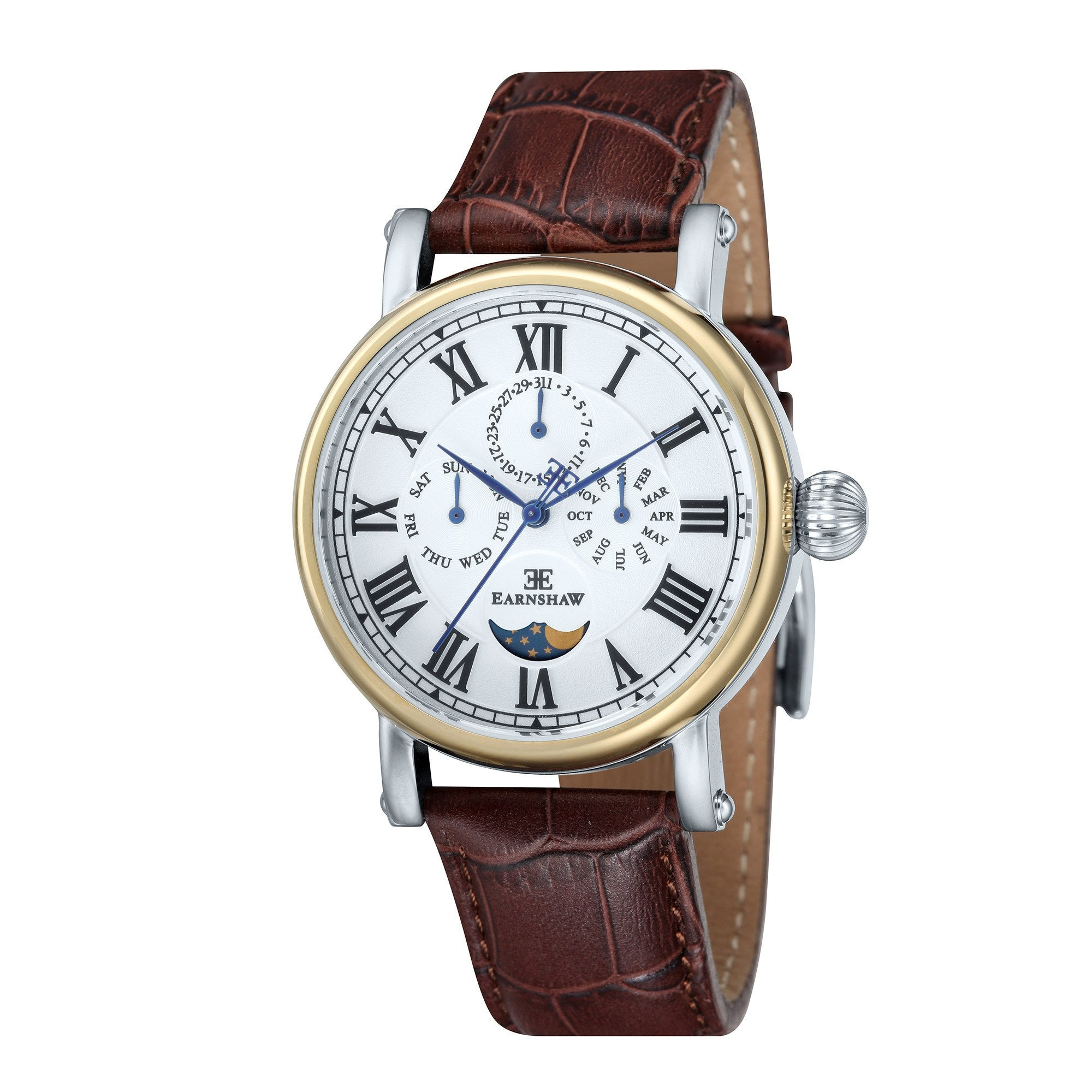 Thomas Earnshaw Men's ES-8031-02 Maskelyne 2-Tone Watch with Brown Leather Strap