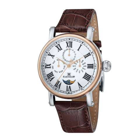 Thomas Earnshaw Men's ES-8031-03 Maskelyne 2-Tone Watch with Brown Leather Strap