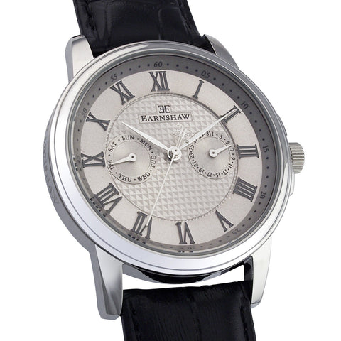 Thomas Earnshaw Men's ES-8036-02 Flinders Stainless Steel Watch with Black Leather Strap