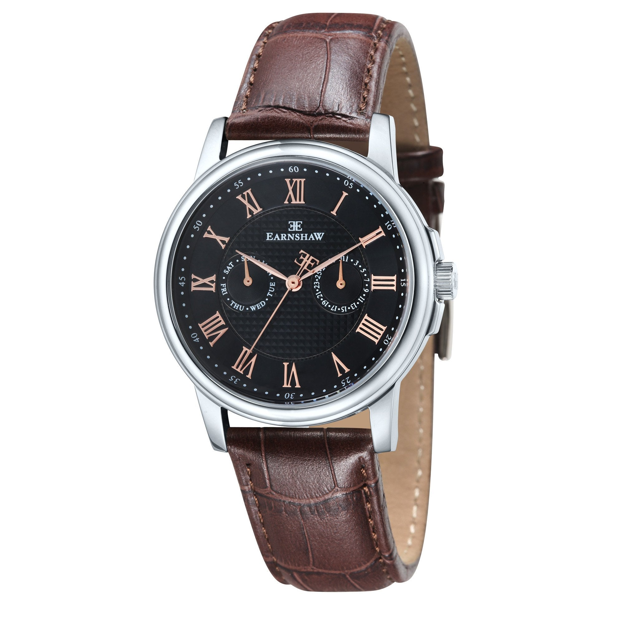 Thomas Earnshaw Men's ES-8036-03 Flinders Stainless Steel Watch with Brown Leather Strap