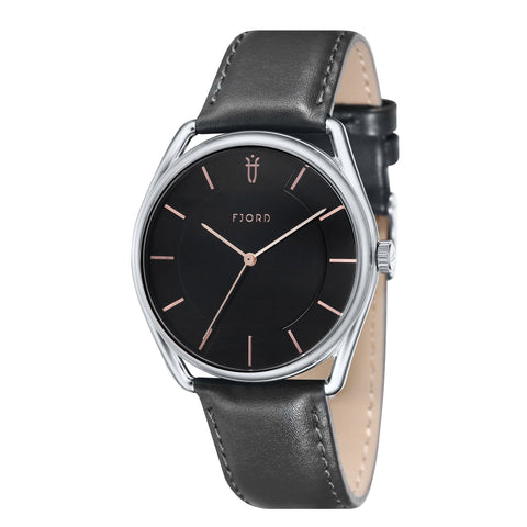 Fjord Men's FJ-3022-01 Quartz Watch with Black Dial and Black Genuine Leather Strap
