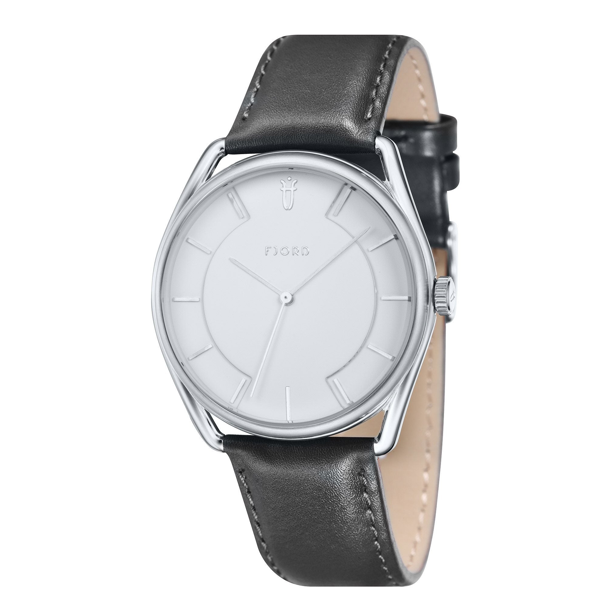 Fjord Men's FJ-3022-02 Quartz Watch with White Dial and Black Genuine Leather Strap