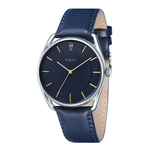 Fjord Men's FJ-3022-03 Quartz Watch with Blue Dial and Blue Genuine Leather Strap