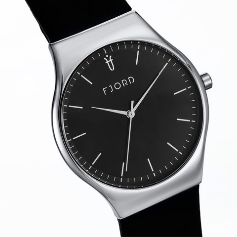 Fjord Men's FJ-3026-01 Quartz Watch with Black Dial and Black Genuine Leather Strap