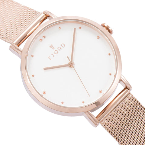 Fjord Ladies FJ-6019-44 Quartz Watch with Silver White Dial and Rose Gold Mesh Band