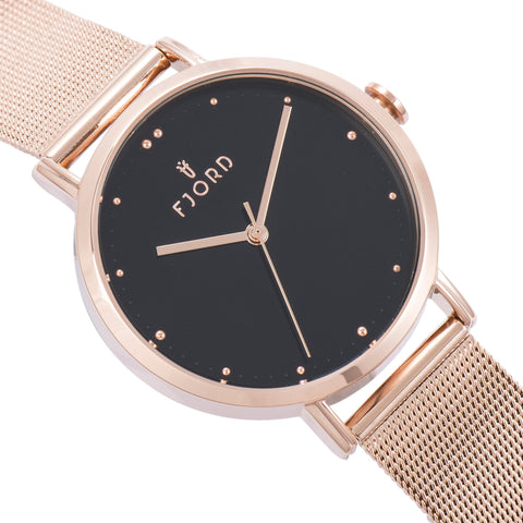 Fjord Ladies FJ-6019-55 Quartz Watch with Black Dial and Rose Gold Mesh Band