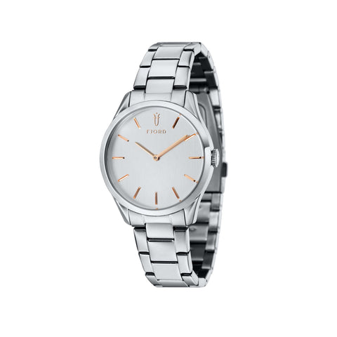 Fjord Ladies FJ-6028-22 Quartz Watch with Silver White Dial and Silver Stainless Steel Bracelet Strap