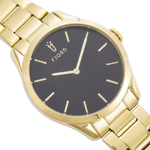 Fjord Ladies FJ-6028-33 Quartz Watch with Black Dial and Gold Stainless Steel Bracelet Strap