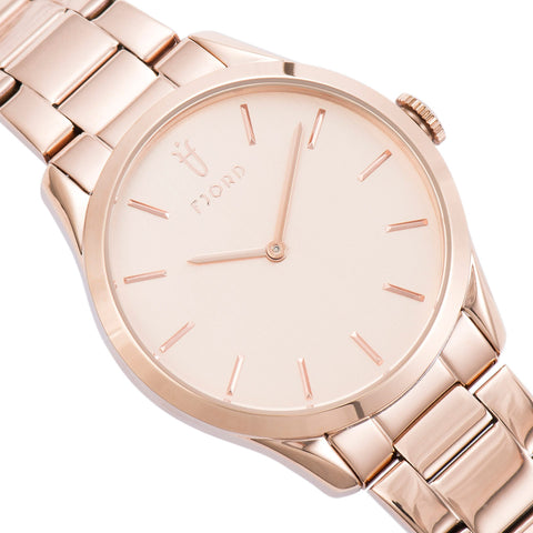 Fjord Ladies FJ-6028-44 Quartz Watch with Rose Gols Dial and Rose Gold Stainless Steel Bracelet Strap