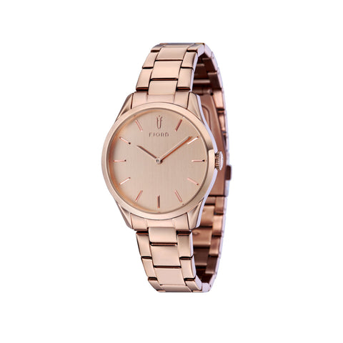 Fjord Ladies FJ-6028-44 Quartz Watch with Rose Gold Dial and Rose Gold Stainless Steel Bracelet Strap