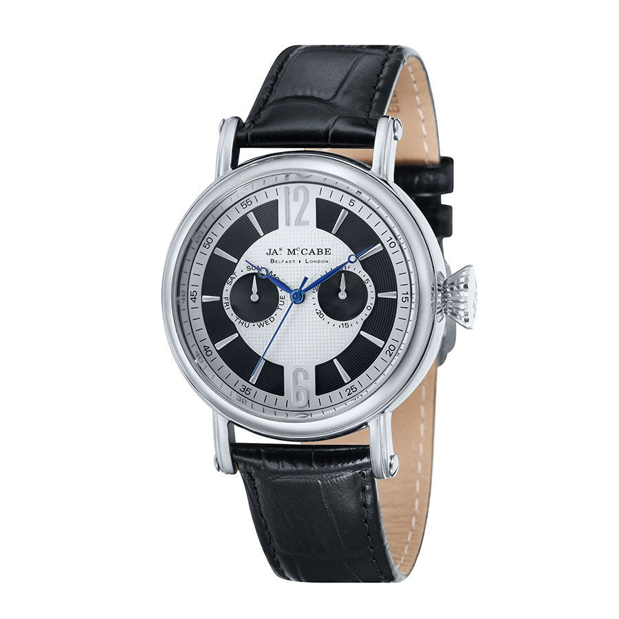 James Mccabe Men's JM-1004-01 Lurgan Stainless Steel Quartz Watch with Black Leather Strap