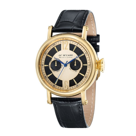James Mccabe Men's JM-1004-03 Lurgan Gold Quartz Watch with Black Leather Strap