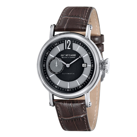 James Mccabe Men's JM-1006-02 Lurgan Stainless Steel Automatic Watch with Brown Genuine Leather Strap