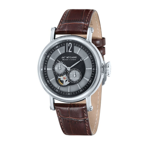 James Mccabe Men's JM-1007-02 Lurgan Stainless Steel Automatic Watch with Brown Genuine Leather Strap