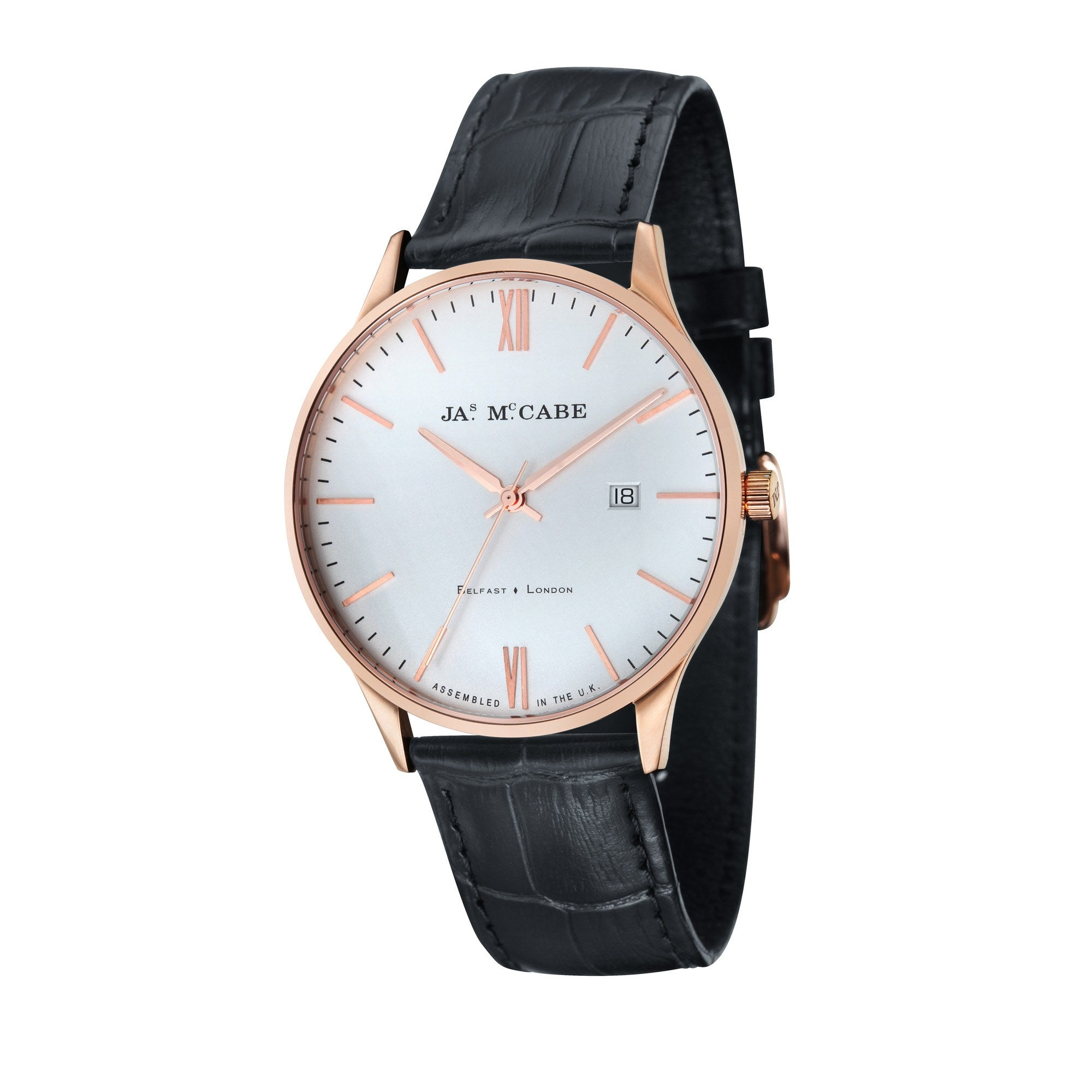 James Mccabe Men's JM-1016-03 London - Slim Rose Gold Quartz Watch with Black Leather Strap