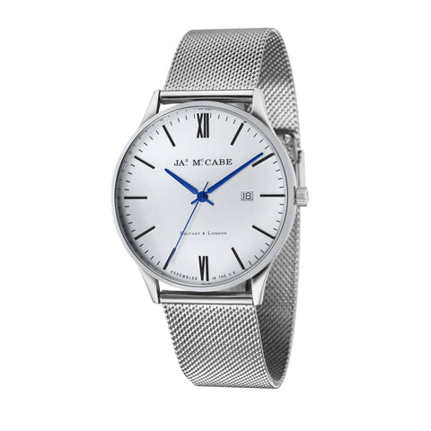 James Mccabe Men's JM-1016-AA London - Slim Stainless Steel Quartz Watch with Stainless Steel Mesh Band