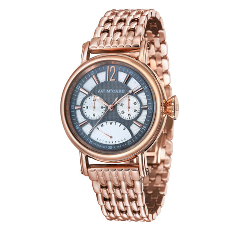 James Mccabe Men's JM-1017-55 Lurgan Rose Gold Quartz Watch with Rose Gold Band