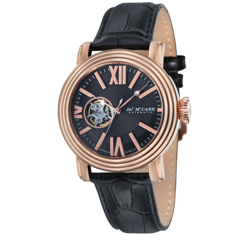 James Mccabe Men's JM-1018-05 Victory Rose Gold Automatic Watch with Black Leather Strap