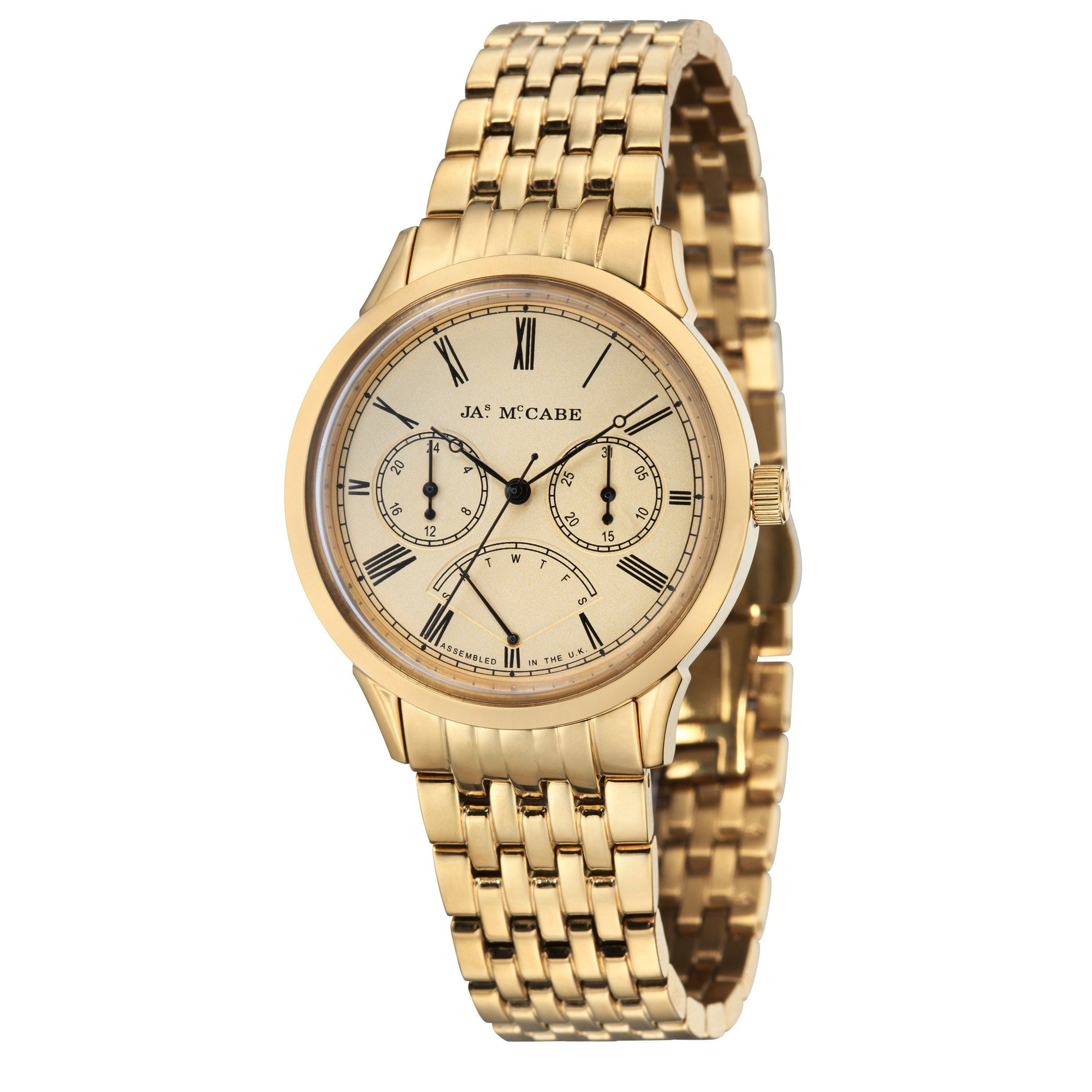 James Mccabe Men's JM-1019-22 Heritage Gold Quartz Watch with Solid Gold Band
