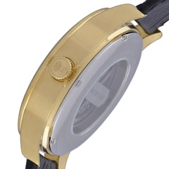 James Mccabe Men's JM-1020-03 Belfast Gold Automatic Watch with Black Leather Strap