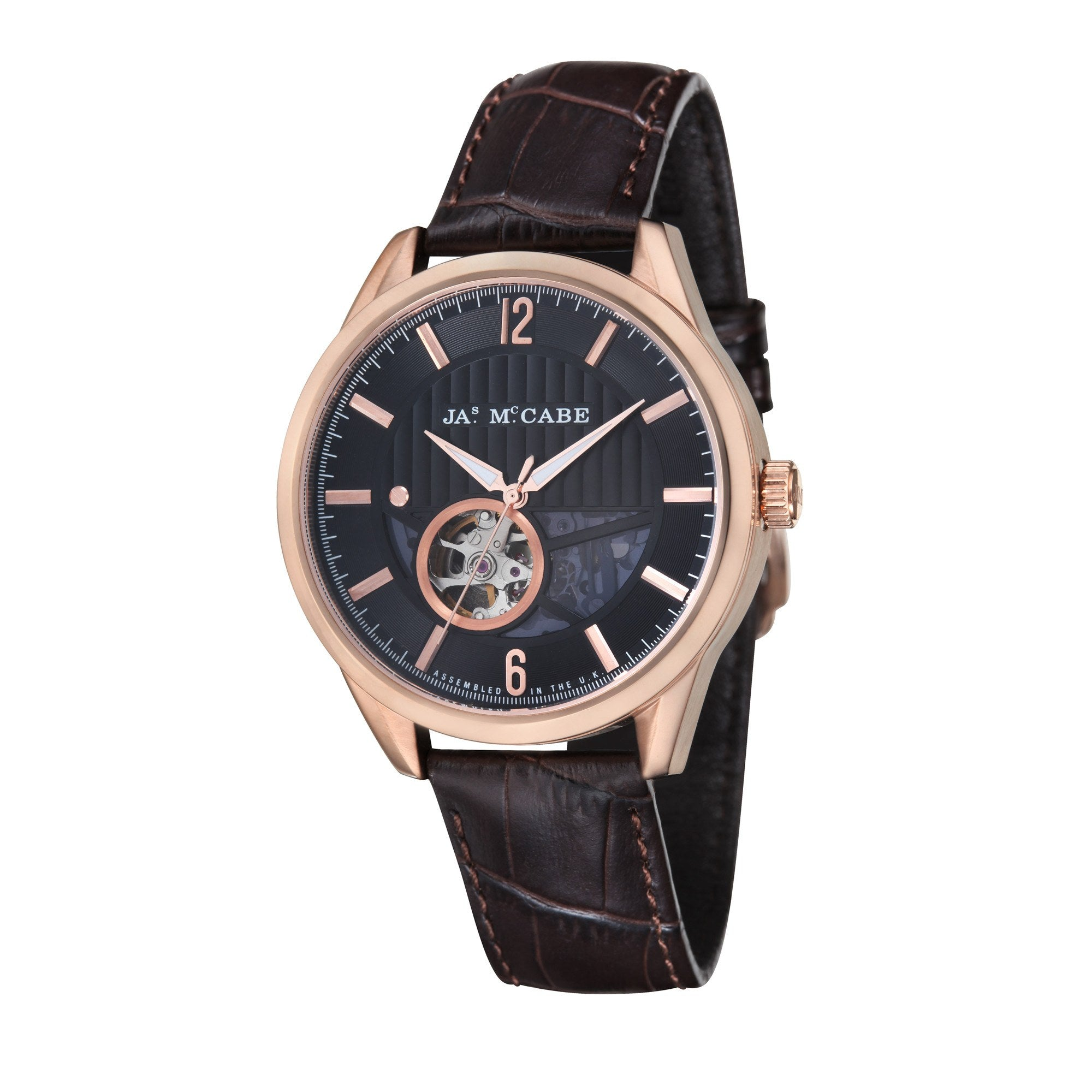 James Mccabe Men's JM-1020-04 Belfast Rose Gold Automatic Watch with Dark Brown Leather Strap