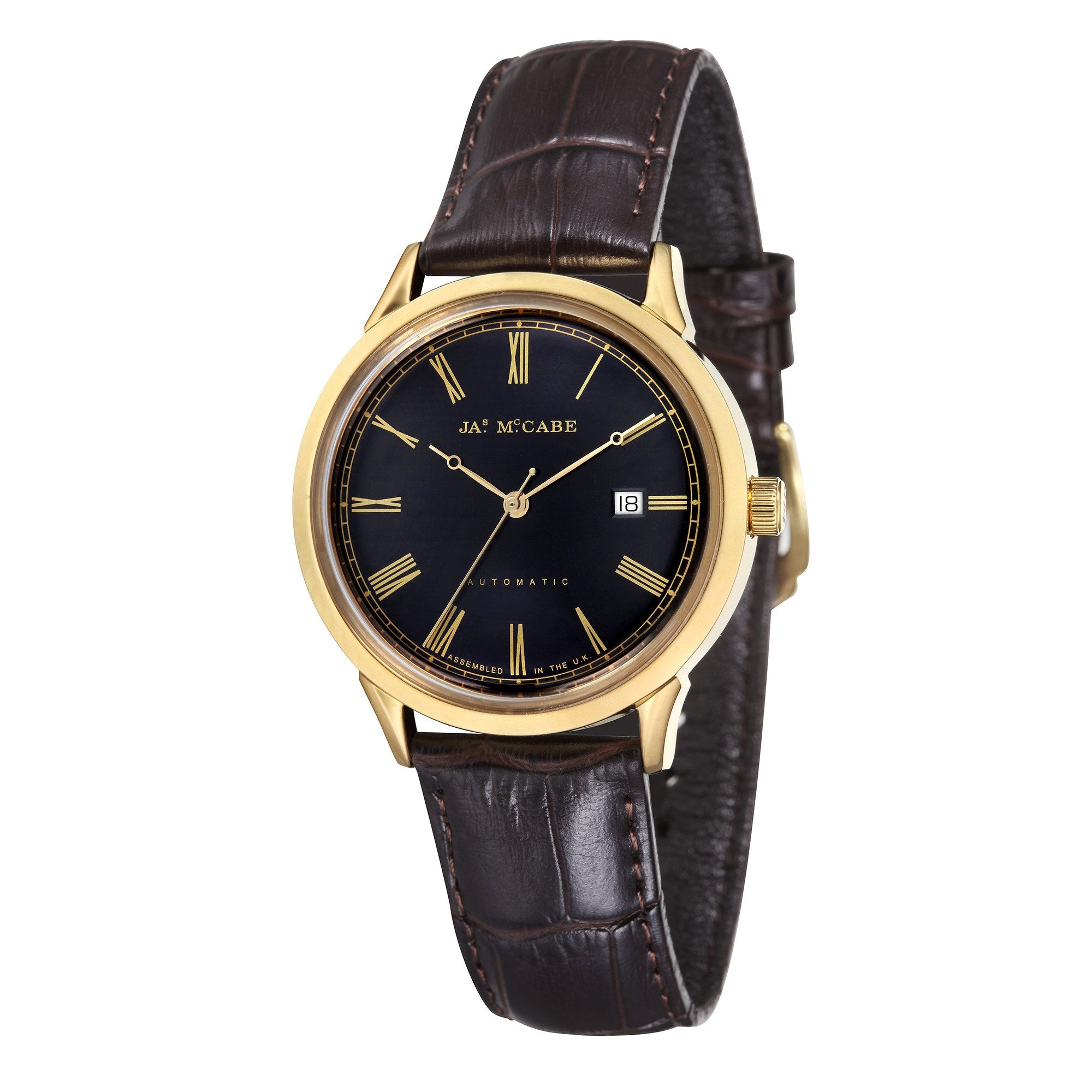 James Mccabe Men's JM-1021-03 Heritage Gold Automatic Watch with Dark Brown Leather Strap