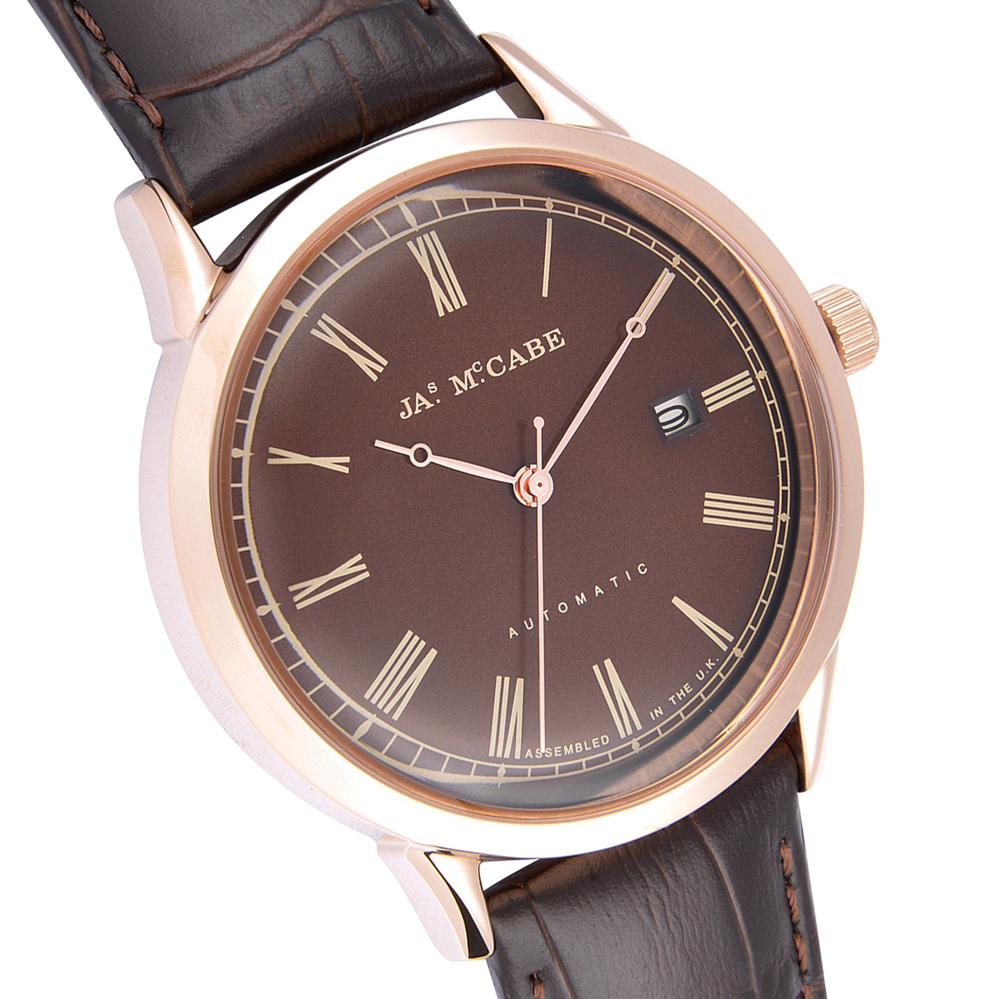James Mccabe Men's JM-1021-04 Heritage Rose Gold Automatic Watch with Dark Brown Leather Strap
