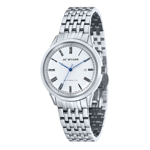 James Mccabe Men's JM-1021-11 Heritage Stainless Steel Automatic Watch with Solid Stainless Steel Band