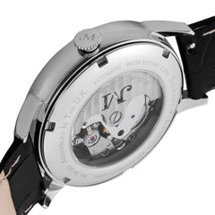 James McCabe Men's JM-1022-02 Heritage II Stainless Steel Automatic Watch with Black Leather Strap
