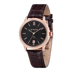 James McCabe Men's JM-1022-03 Heritage II Rose Gold Automatic Watch with Brown Leather Strap