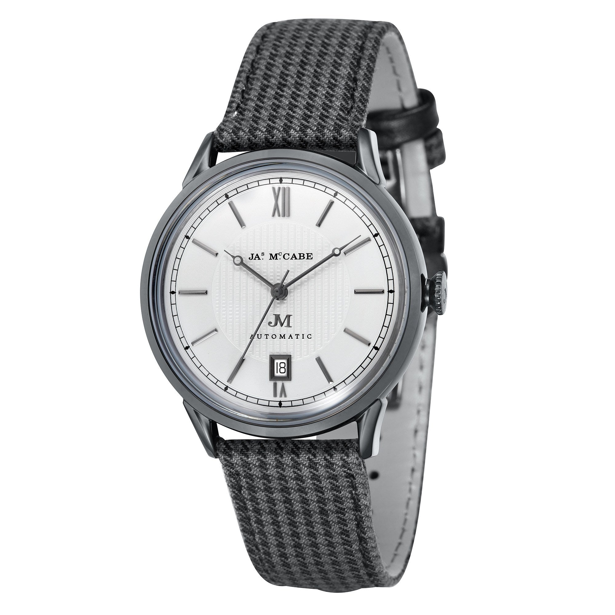 James McCabe Men's JM-1022-06 Heritage II Gunmetal Automatic Watch with Grey Canvas Strap
