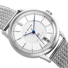 James McCabe Men's JM-1022-11 Heritage II Stainless Steel Automatic Watch with Stainless Steel Mesh Band