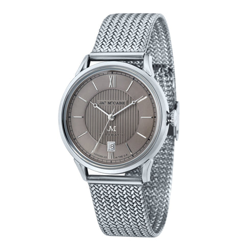 James McCabe Men's JM-1022-22 Heritage II Stainless Steel Automatic Watch with Stainless Steel Mesh Band