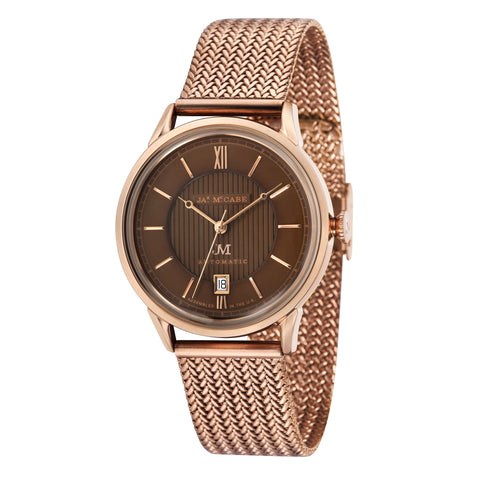 James McCabe Men's JM-1022-44 Heritage II Rose Gold Automatic Watch with Rose Gold Mesh Band