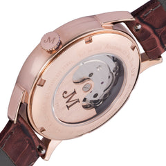 James McCabe Men's JM-1023-03 Heritage II Rose Gold Automatic Watch with Brown Leather Strap